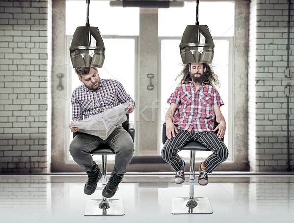 Portrait of a two funny, bored guys at barber's Stock photo © majdansky