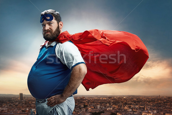 Funny portrait of a superhero Stock photo © majdansky