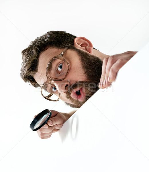 Stockfoto: Grappig · vent · vergrootglas · man · haren