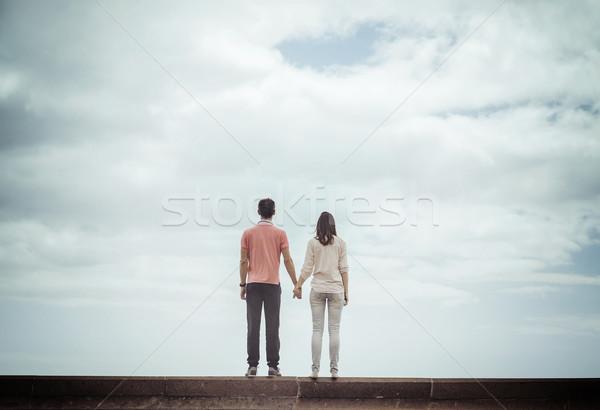 çift bakıyor bulutlu gökyüzü Stok fotoğraf © majdansky