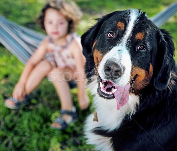 Cute meisje hond vriend huisdier bloem Stockfoto © majdansky