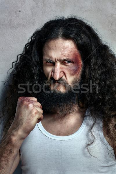 Portret funny ranny myśliwiec ranny sportu Zdjęcia stock © majdansky