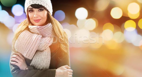Closeup portrait of an elegant, cheerful brunette woman - glimme Stock photo © majdansky
