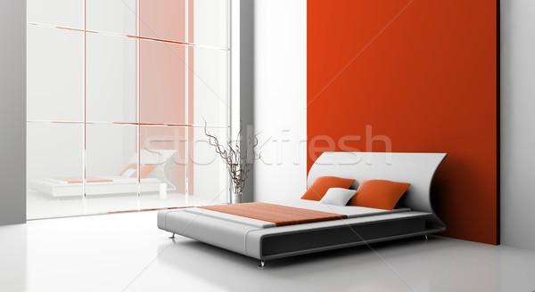 Chambre modernes intérieur chambre 3D mur Photo stock © maknt