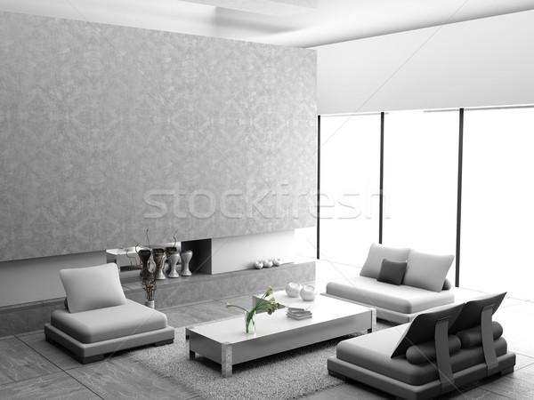 ストックフォト: リビングルーム · 現代 · インテリア · 3D · 家 · 光
