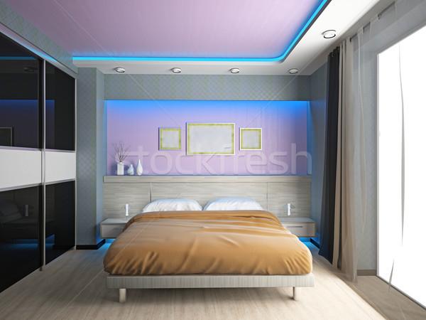 Slaapkamer moderne interieur kamer 3D licht Stockfoto © maknt