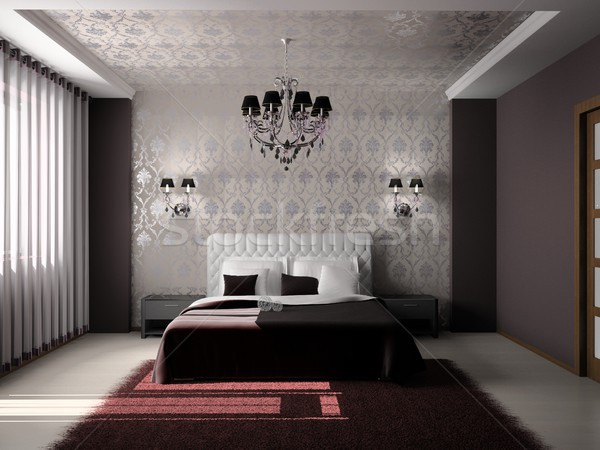 Hálószoba modern belső szoba 3D fény Stock fotó © maknt