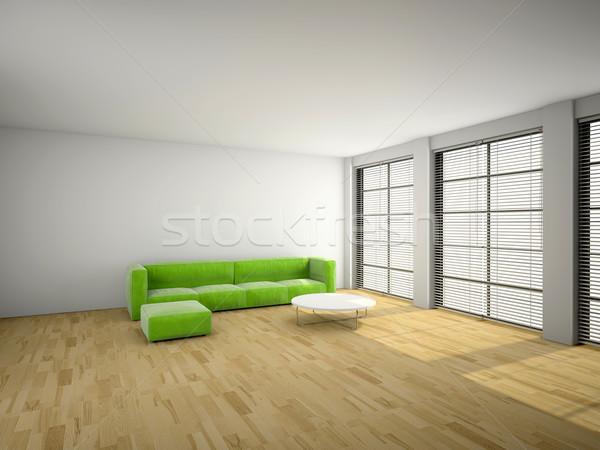 Groene sofa kamer 3D afbeelding Stockfoto © maknt