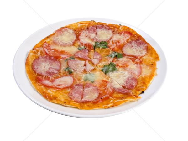 Stockfoto: Pizza · foto · witte · voedsel · partij · kaas