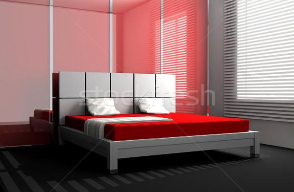Stockfoto: Slaapkamer · moderne · interieur · kamer · 3D · licht