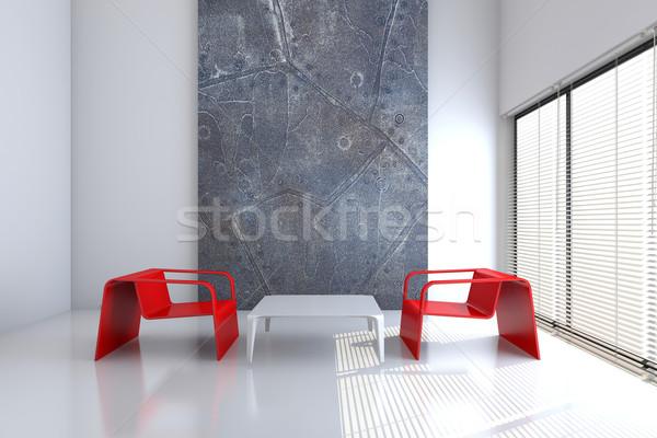 Szék asztal üres belső 3D renderelt kép Stock fotó © maknt