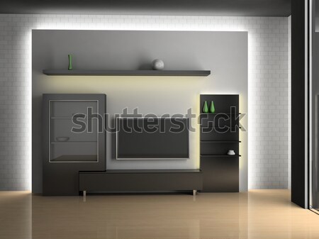 Home theater interieur 3D huis televisie Stockfoto © maknt