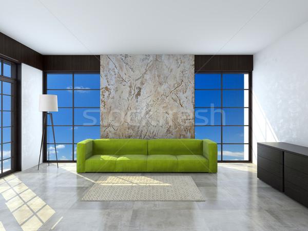 Zöld kanapé szoba 3D renderelt kép kép Stock fotó © maknt