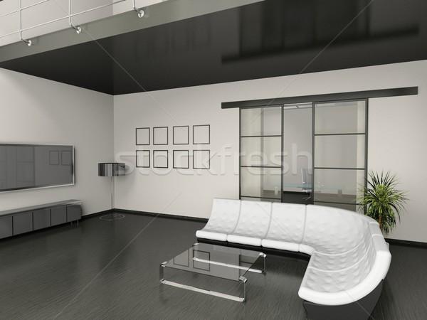 Stock foto: Wohnzimmer · modernen · Innenraum · 3D · Haus · Licht