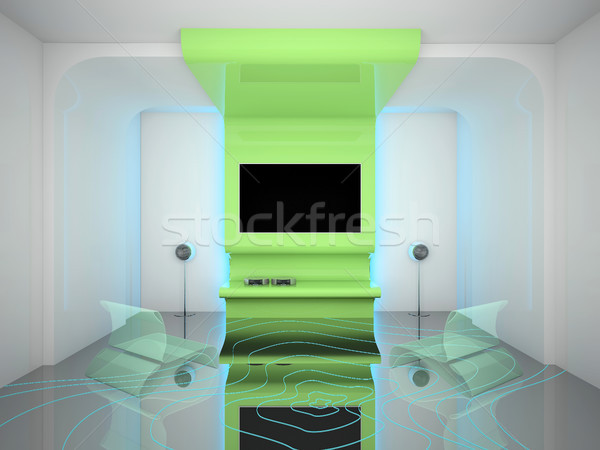 Interieur woonkamer tv 3D huis Stockfoto © maknt