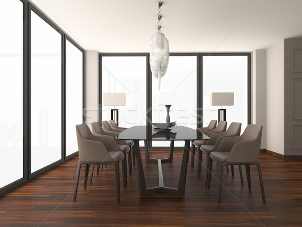 Stoel tabel lege interieur 3D Stockfoto © maknt