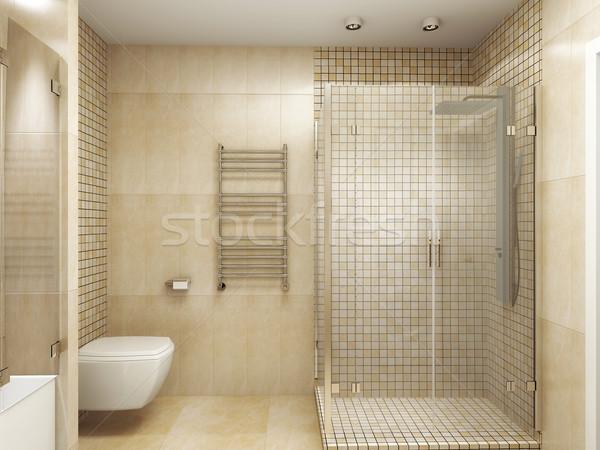 Modernes intérieur salle de bain 3D eau Photo stock © maknt
