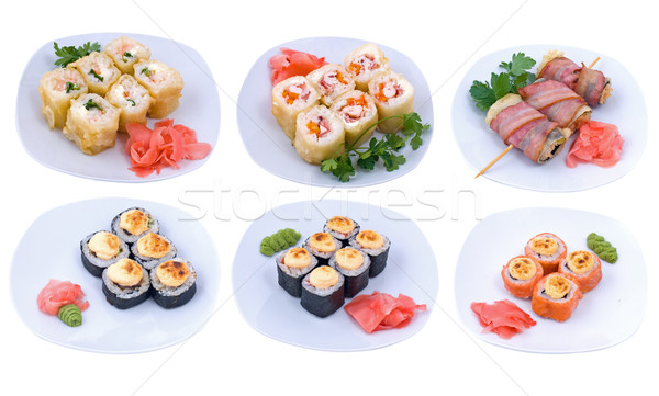 Photo stock: Roulé · sushis · photo · poissons · fond