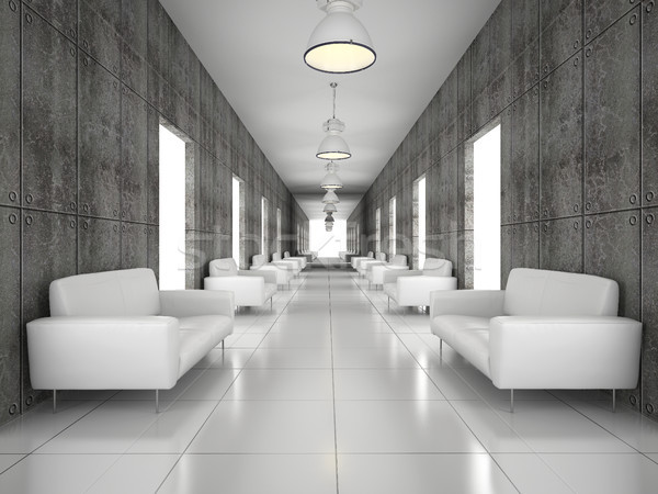 Abstract hal beton muur 3D Stockfoto © maknt