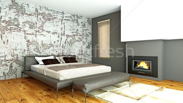 современных интерьер спальня 3D комнату Сток-фото © maknt