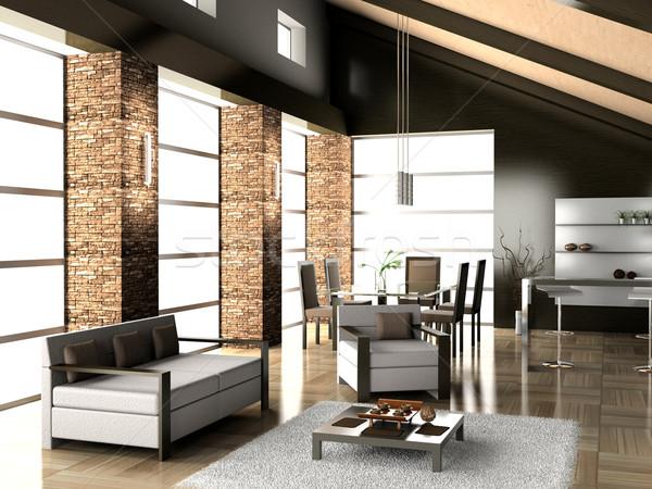 Woonkamer dining moderne huis licht ontwerp Stockfoto © maknt