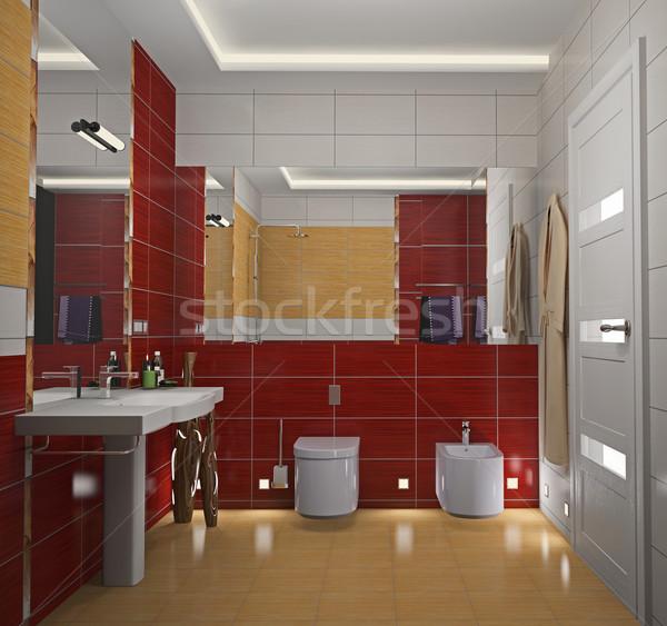 Modern interior of a bathroom 3D Stock photo © maknt