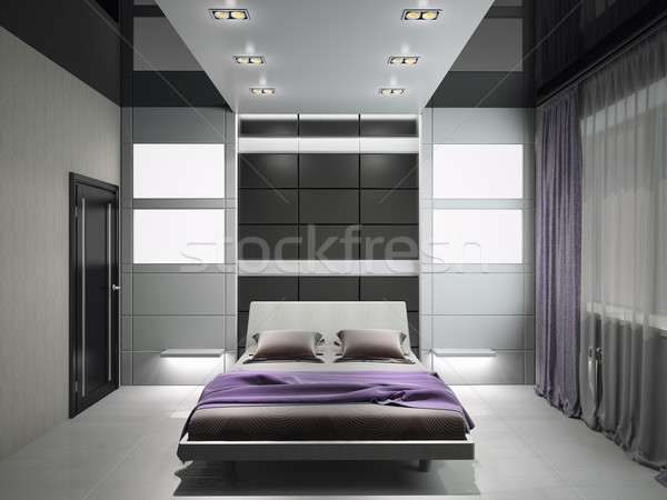 Modern interior of a bedroom 3d rendering Stock photo © maknt