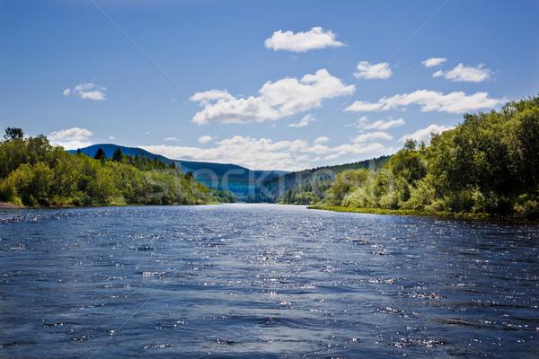 Stockfoto: Bomen · rivier · landschap · bergen · hemel