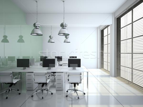 Moderne kantoor interieur glas muur 3D Stockfoto © maknt