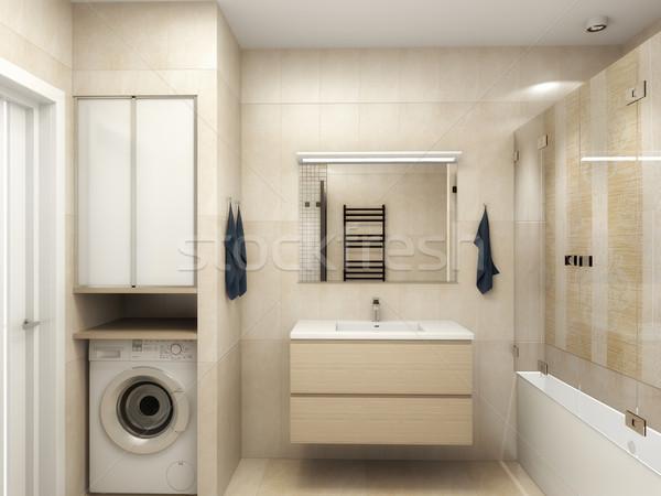 Moderne interieur badkamer 3D water Stockfoto © maknt