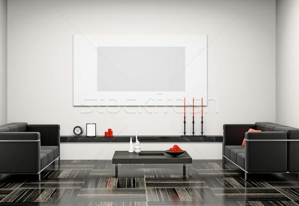 Salon 3D modernes intérieur maison télévision Photo stock © maknt