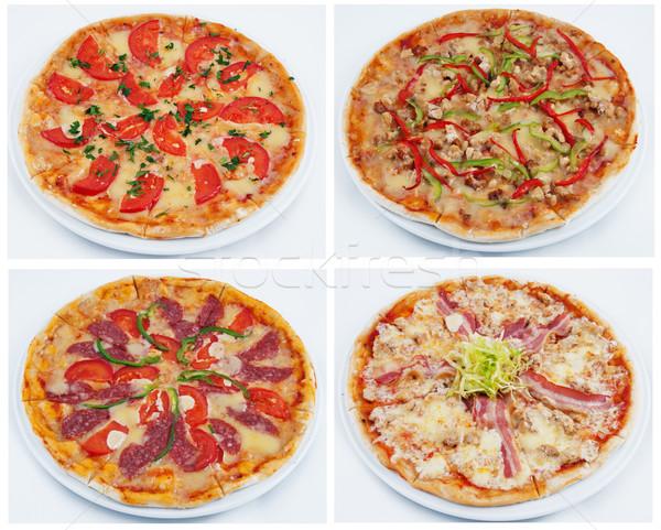 Stockfoto: Pizza · foto · plaat · ingesteld · voedsel · diner