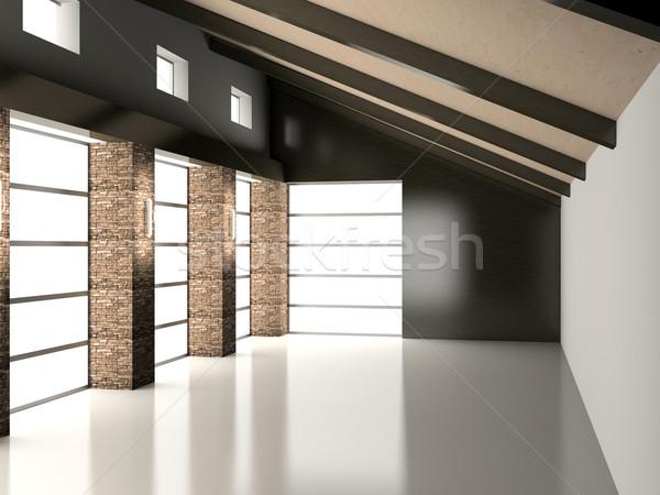 Lege interieur licht moderne 3D hout Stockfoto © maknt