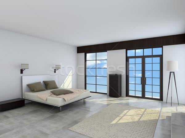 Ruim interieur slaapkamer 3D moderne Stockfoto © maknt