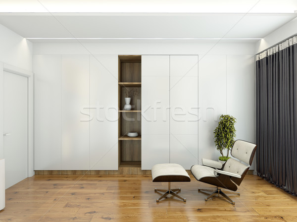 Modern interior with a chair and a wardrobe 3D rendering Stock photo © maknt