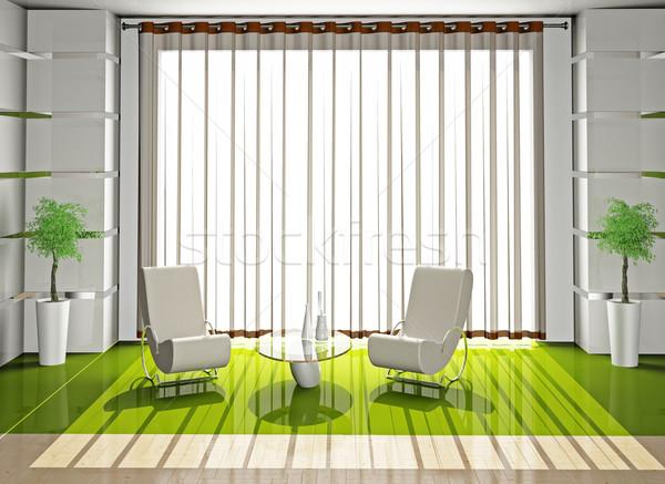Photo stock: Fauteuil · chambre · modernes · maison · lumière · design