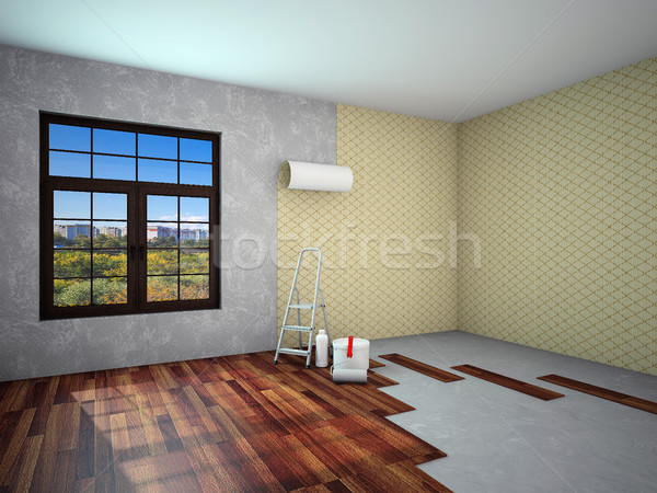интерьер ремонта работу 3D стены Сток-фото © maknt