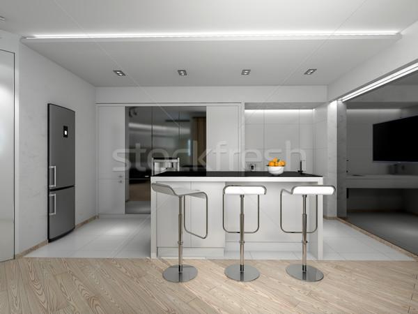 Belső modern konyha 3D renderelt kép otthon Stock fotó © maknt