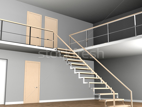 Ladder lege interieur licht moderne 3D Stockfoto © maknt