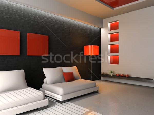 Woonkamer moderne interieur 3D huis home Stockfoto © maknt