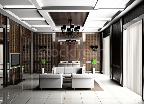 Woonkamer 3D moderne interieur huis televisie Stockfoto © maknt