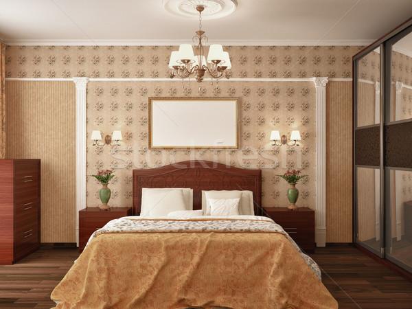 Slaapkamer klassiek interieur 3D muur mode Stockfoto © maknt