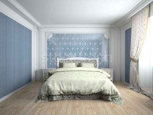 Belső hálószoba 3D renderelt kép szoba fény Stock fotó © maknt