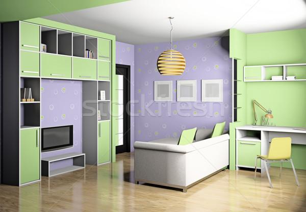 Stock fotó: Szoba · 3D · modern · belső · ház · gyermek