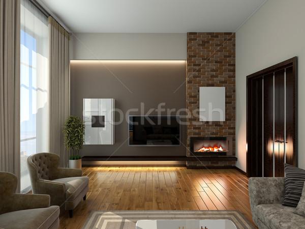 Stockfoto: Woonkamer · 3D · moderne · interieur · huis