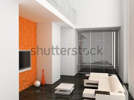Stockfoto: Woonkamer · 3D · moderne · interieur · huis · televisie