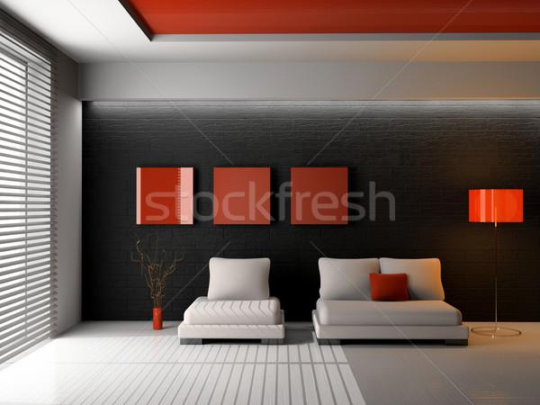 Nappali modern belső 3D ház otthon Stock fotó © maknt