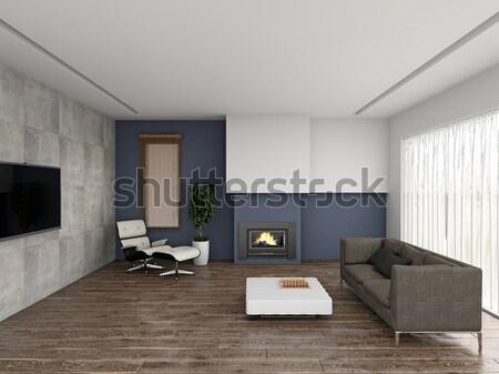 гостиной 3D современных интерьер дома Сток-фото © maknt