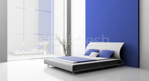 Sypialni nowoczesne wnętrza pokój 3D ściany Zdjęcia stock © maknt