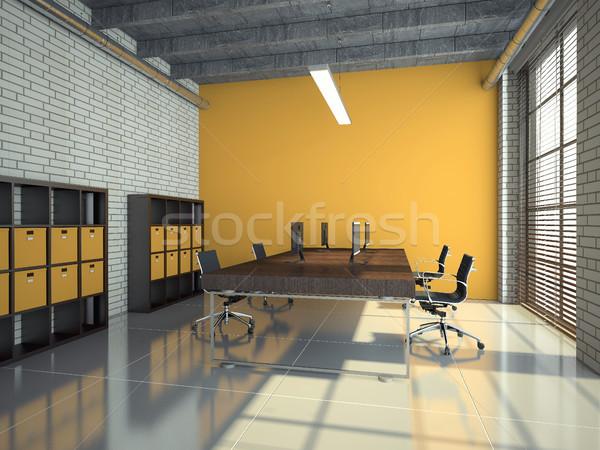 ロフト オフィス インテリア 3D レンダリング 現代 ストックフォト © maknt